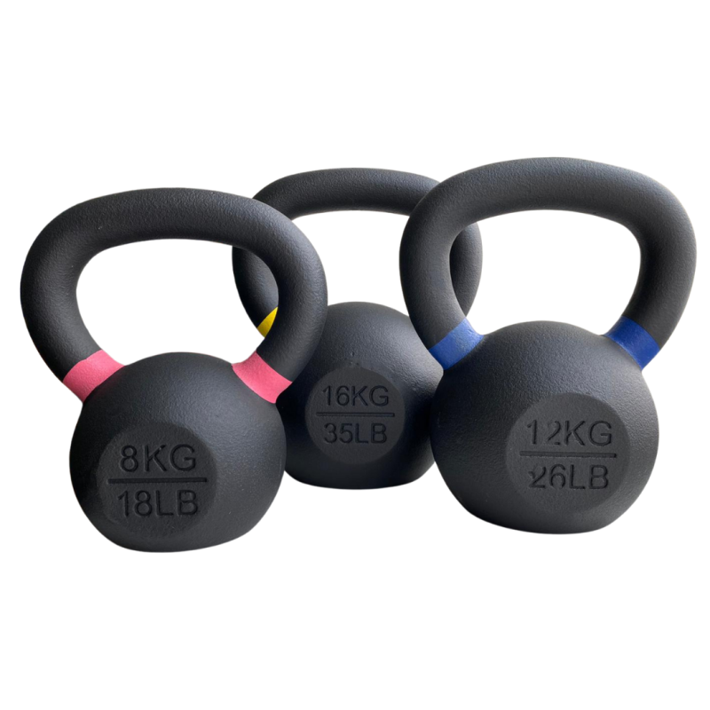 Gravity R Black cast kettlebell with color ring on the handle